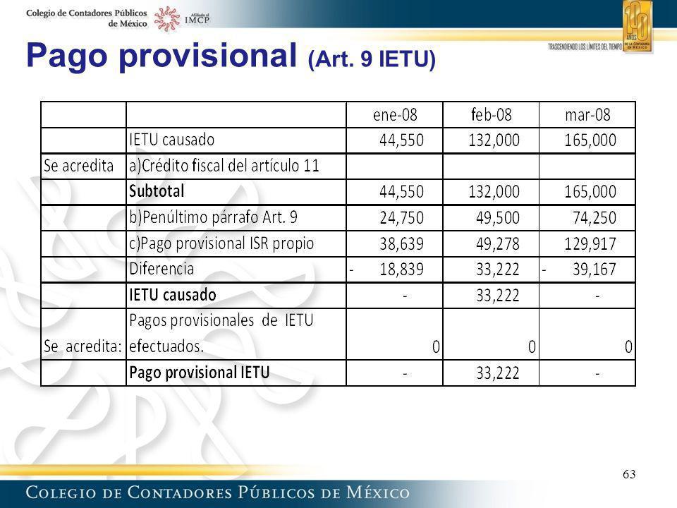 Pago provisional (Art. 9 IETU)
