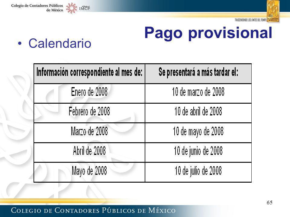 Pago provisional Calendario 65 65