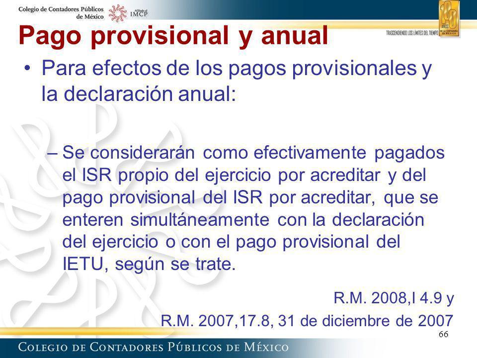 Pago provisional y anual