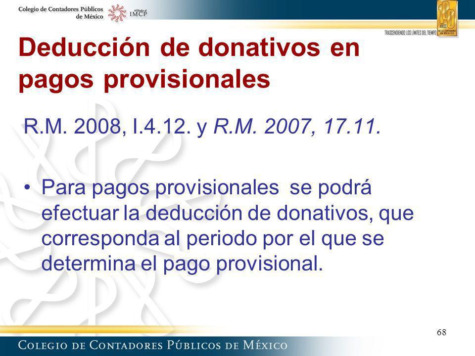Deducción de donativos en pagos provisionales