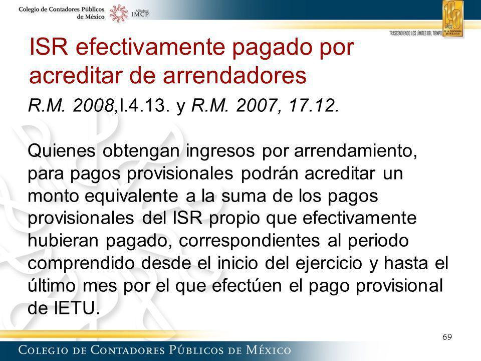 ISR efectivamente pagado por acreditar de arrendadores