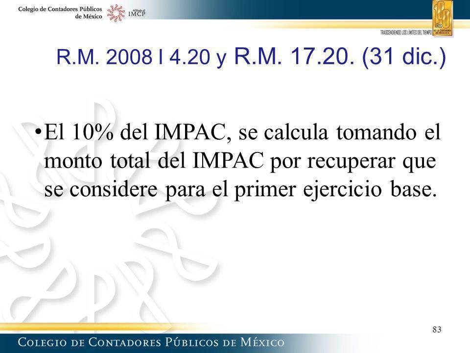 R.M. 2008 I 4.20 y R.M. 17.20. (31 dic.)