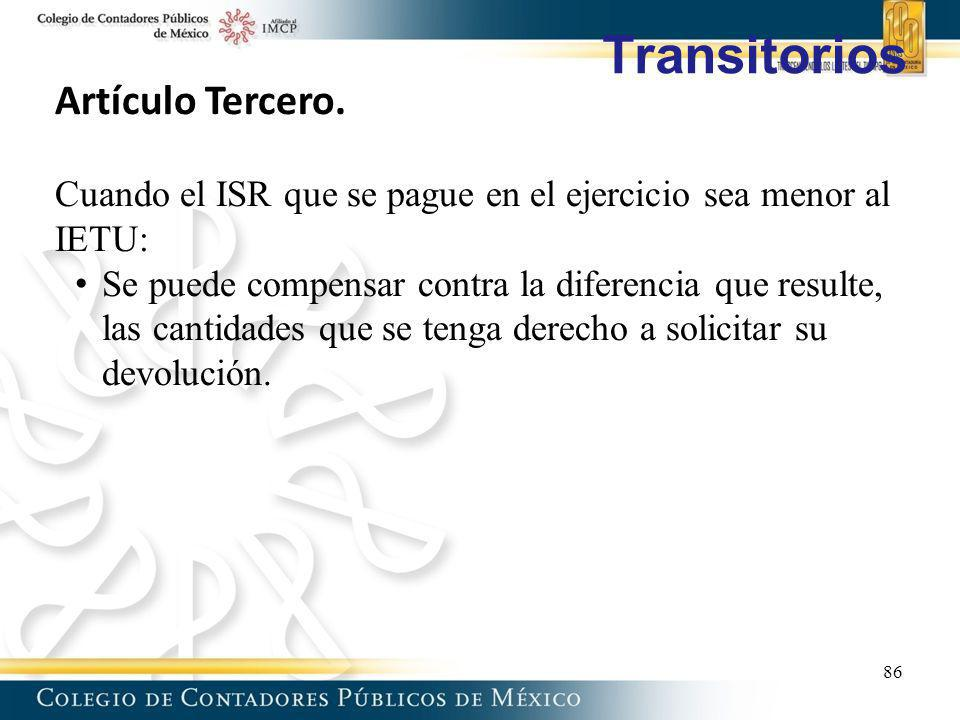 Transitorios Artículo Tercero.