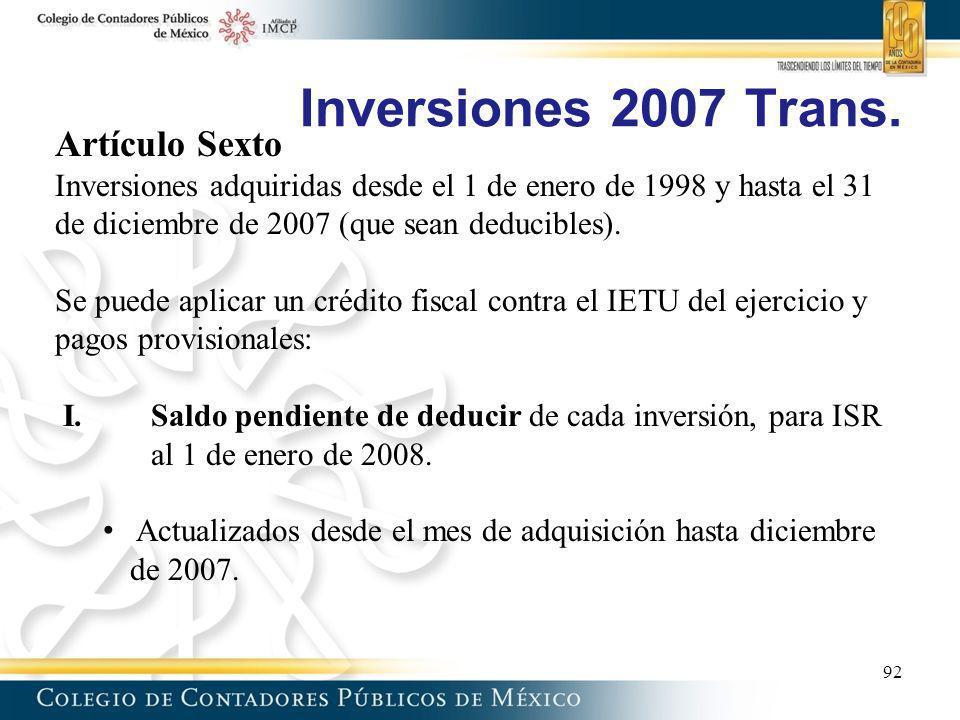 Inversiones 2007 Trans. Artículo Sexto
