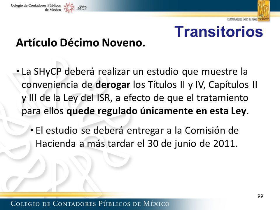 Transitorios Artículo Décimo Noveno.