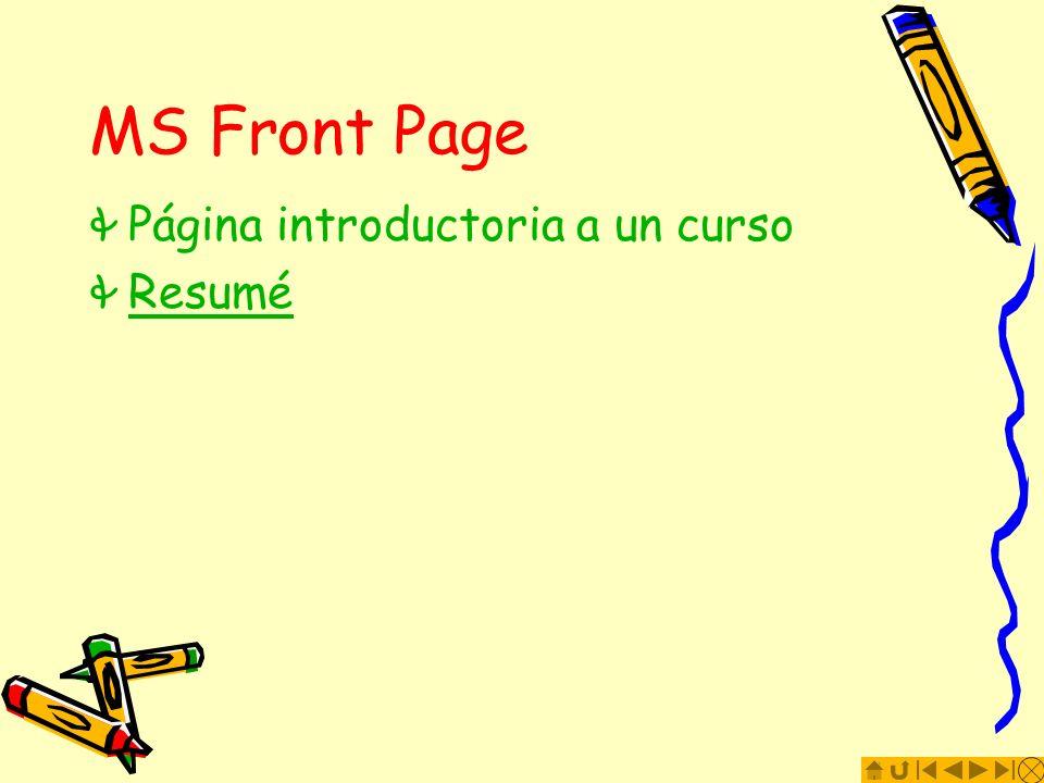 MS Front Page Página introductoria a un curso Resumé