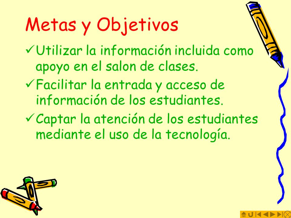 Metas y Objetivos Utilizar la información incluida como apoyo en el salon de clases.