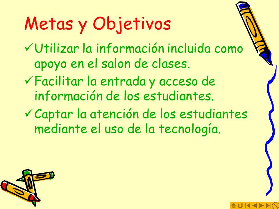 Metas y ObjetivosUtilizar la información incluida como apoyo en el salon de clases. Facilitar la entrada y acceso de información de los estudiantes.