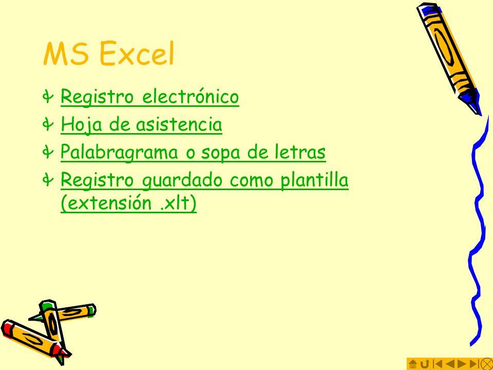 MS Excel Registro electrónico Hoja de asistencia