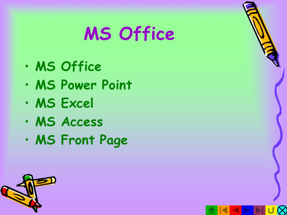 MS Office MS Office MS Power Point MS Excel MS Access MS Front Page