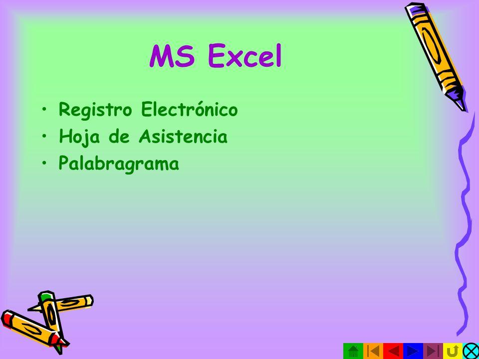 MS Excel Registro Electrónico Hoja de Asistencia Palabragrama