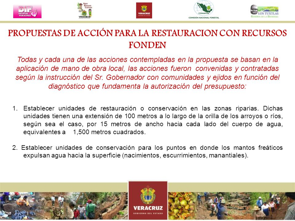 PROPUESTAS DE ACCIÓN PARA LA RESTAURACION CON RECURSOS FONDEN