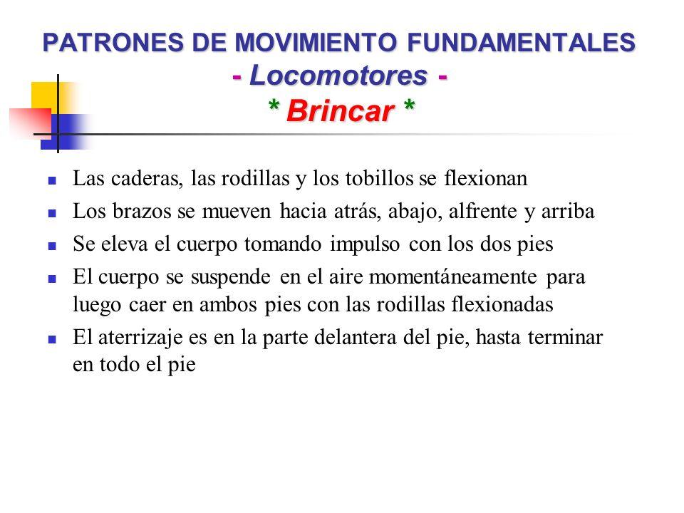 PATRONES DE MOVIMIENTO FUNDAMENTALES - Locomotores - * Brincar *
