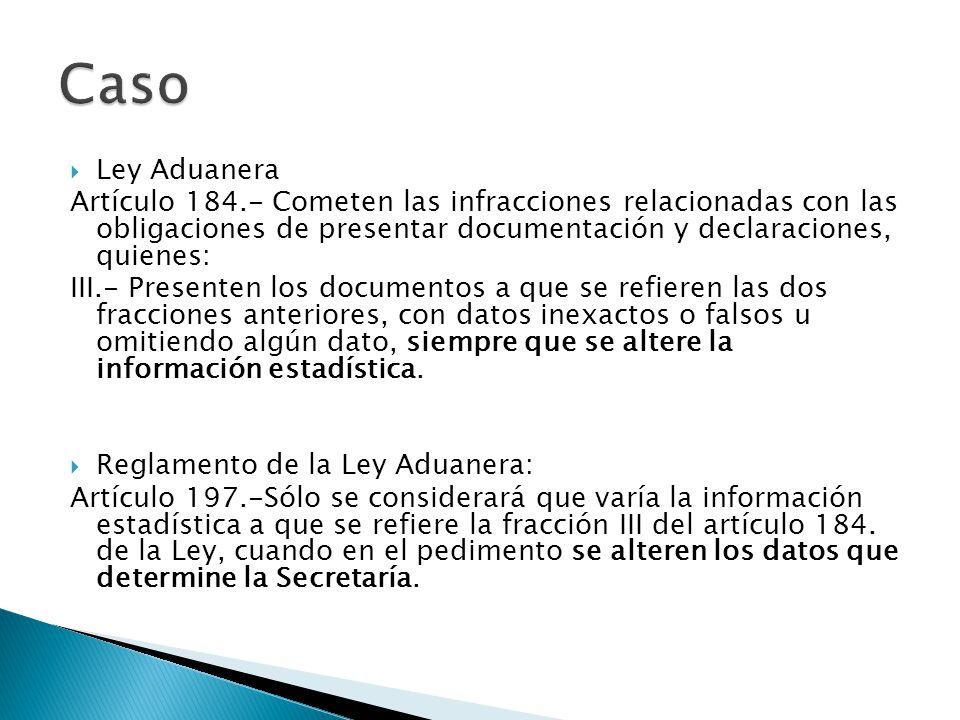 Caso Ley Aduanera. Artículo 184.- Cometen las infracciones relacionadas con las obligaciones de presentar documentación y declaraciones, quienes: