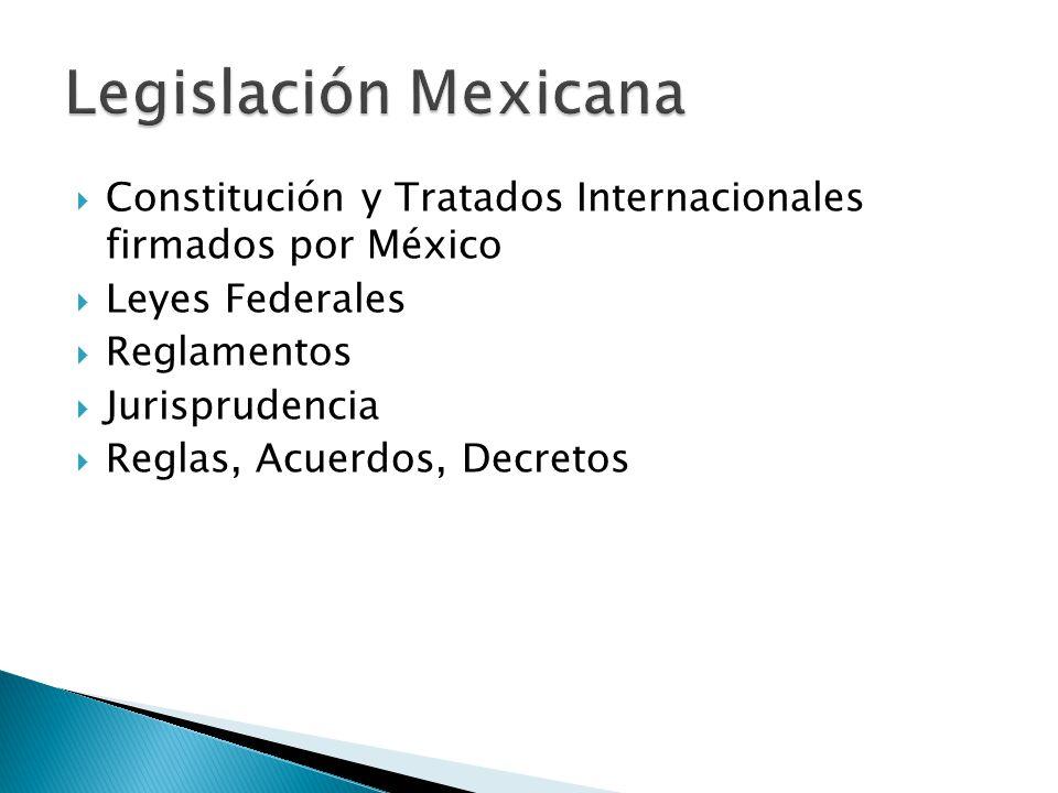 Legislación Mexicana Constitución y Tratados Internacionales firmados por México. Leyes Federales.