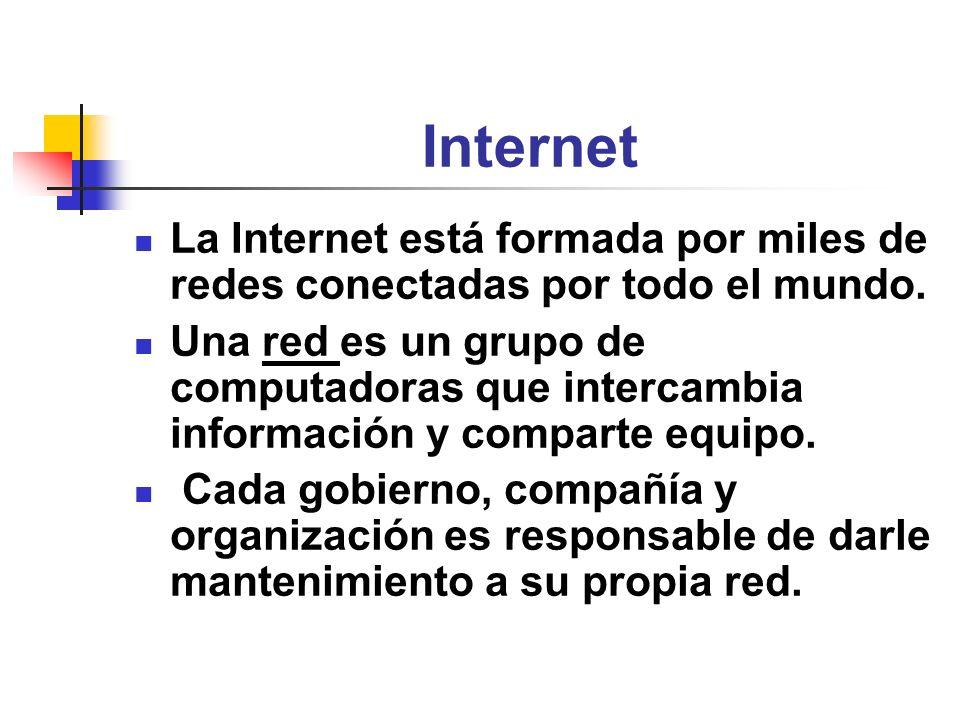 Internet La Internet está formada por miles de redes conectadas por todo el mundo.