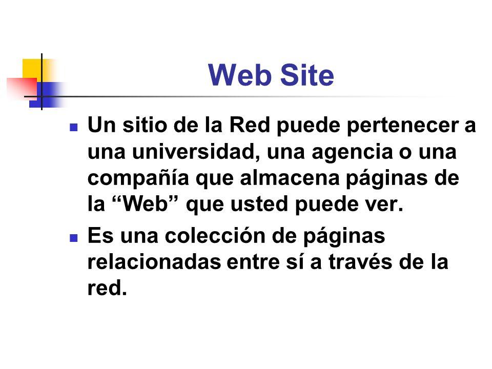 Web Site Un sitio de la Red puede pertenecer a una universidad, una agencia o una compañía que almacena páginas de la Web que usted puede ver.