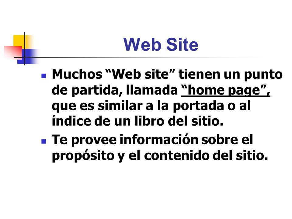 Web Site Muchos Web site tienen un punto de partida, llamada home page , que es similar a la portada o al índice de un libro del sitio.