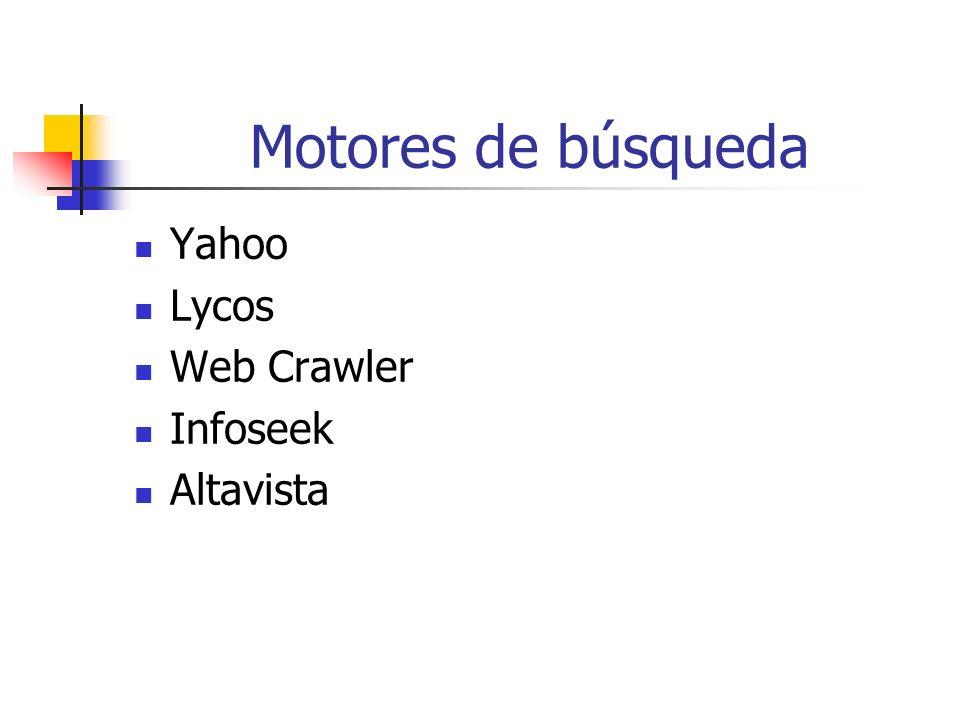 Motores de búsqueda Yahoo Lycos Web Crawler Infoseek Altavista