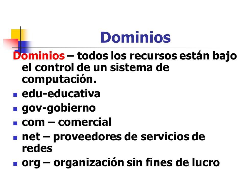 Dominios Dominios – todos los recursos están bajo el control de un sistema de computación. edu-educativa.