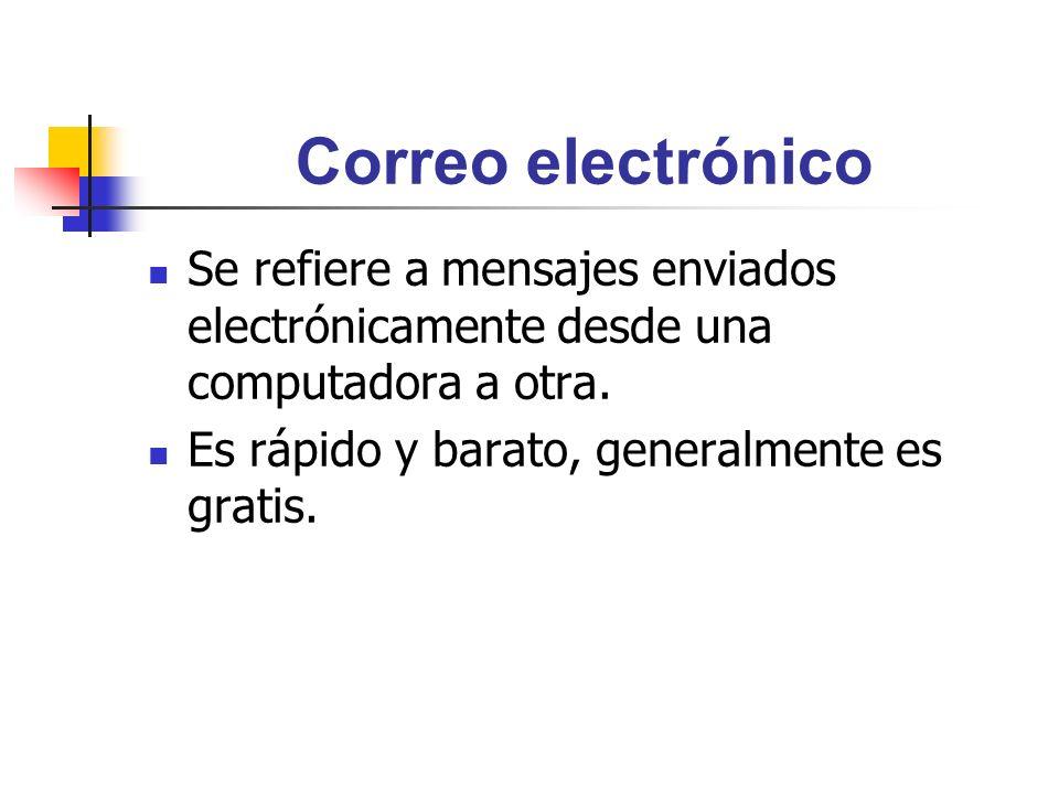 Correo electrónico Se refiere a mensajes enviados electrónicamente desde una computadora a otra.