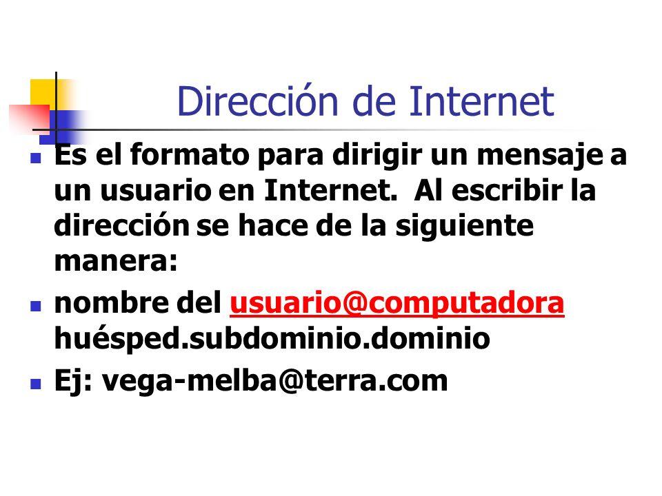 Dirección de Internet Es el formato para dirigir un mensaje a un usuario en Internet. Al escribir la dirección se hace de la siguiente manera: