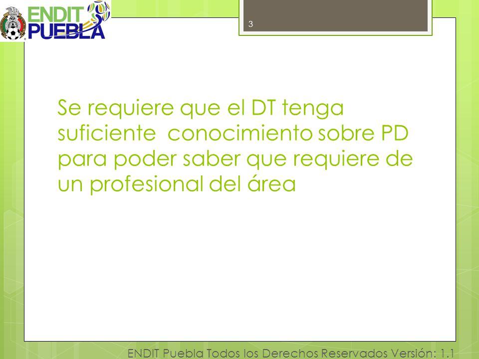 3 Se requiere que el DT tenga suficiente conocimiento sobre PD para poder saber que requiere de un profesional del área.