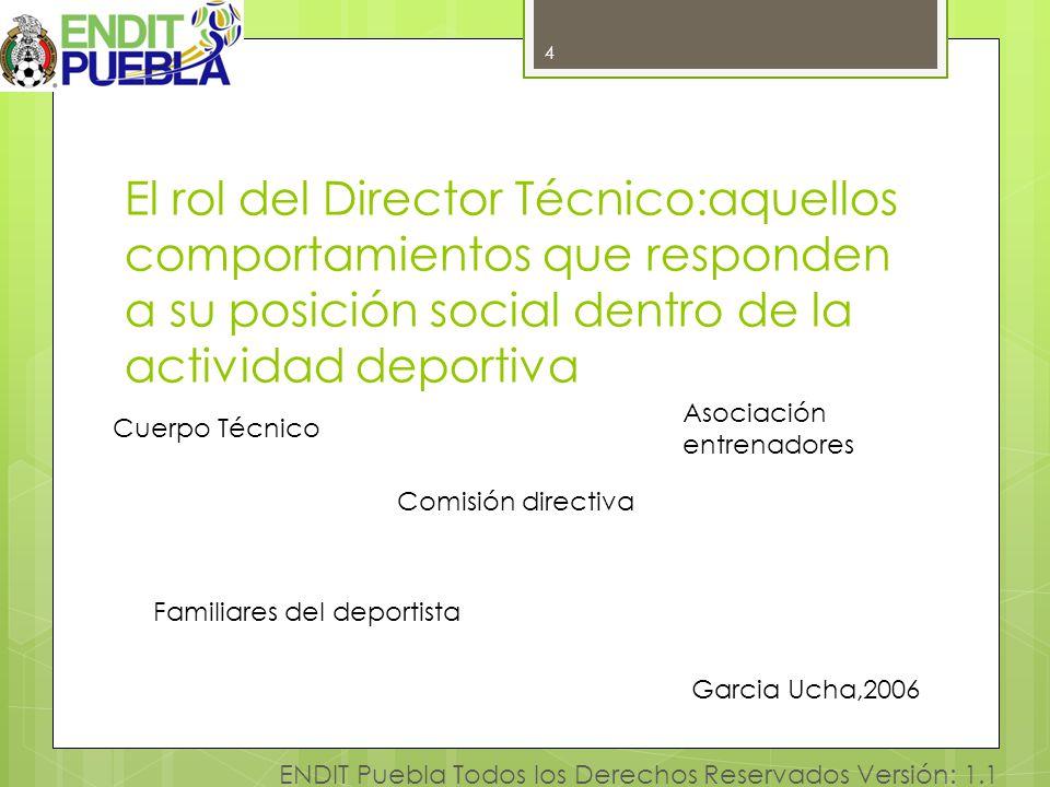 4 El rol del Director Técnico:aquellos comportamientos que responden a su posición social dentro de la actividad deportiva.