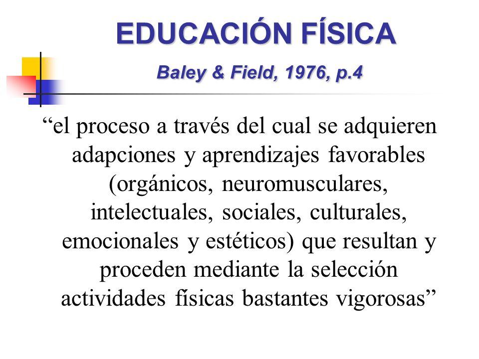 EDUCACIÓN FÍSICA Baley & Field, 1976, p.4