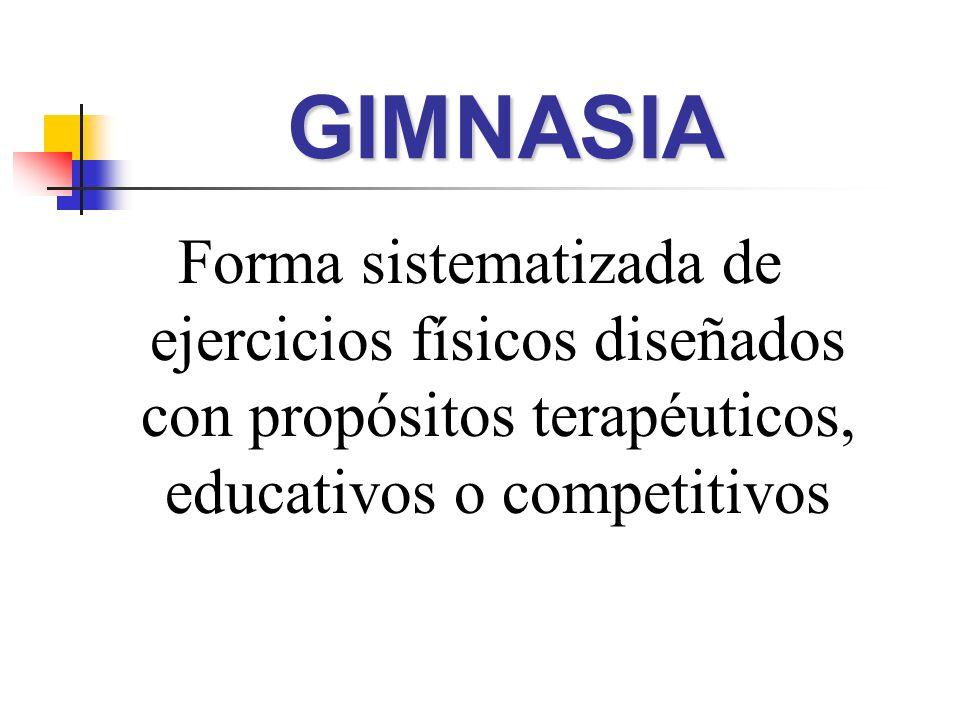 GIMNASIA Forma sistematizada de ejercicios físicos diseñados con propósitos terapéuticos, educativos o competitivos.