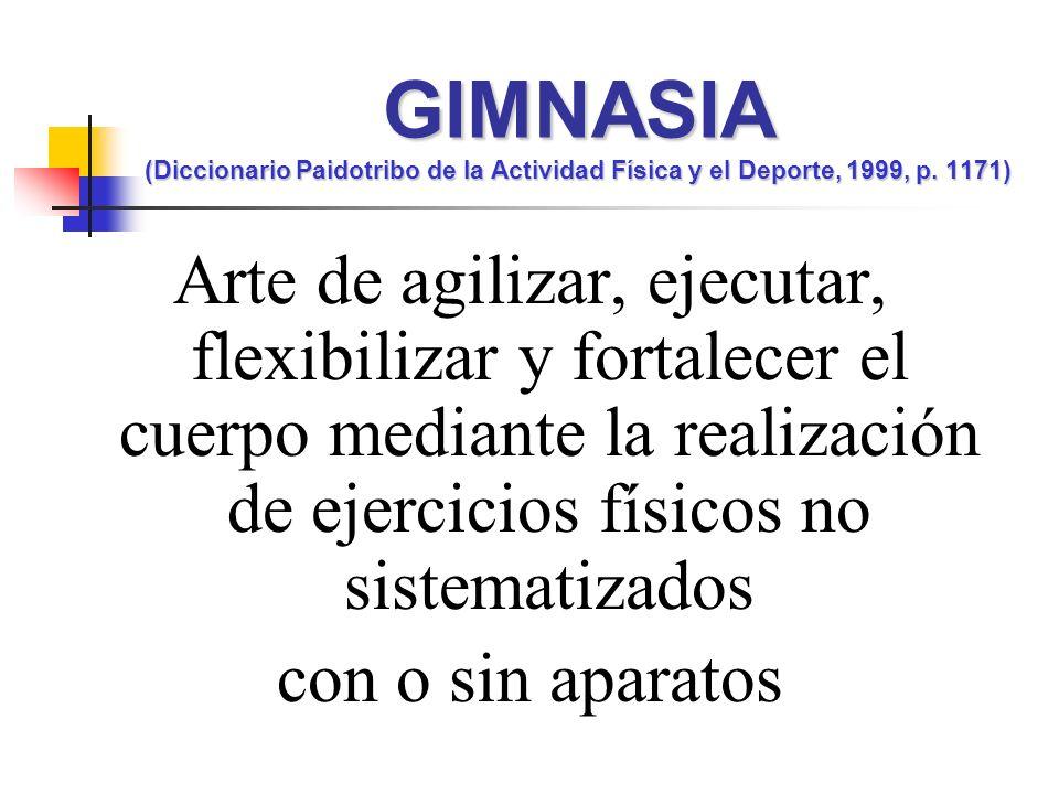 GIMNASIA (Diccionario Paidotribo de la Actividad Física y el Deporte, 1999, p. 1171)