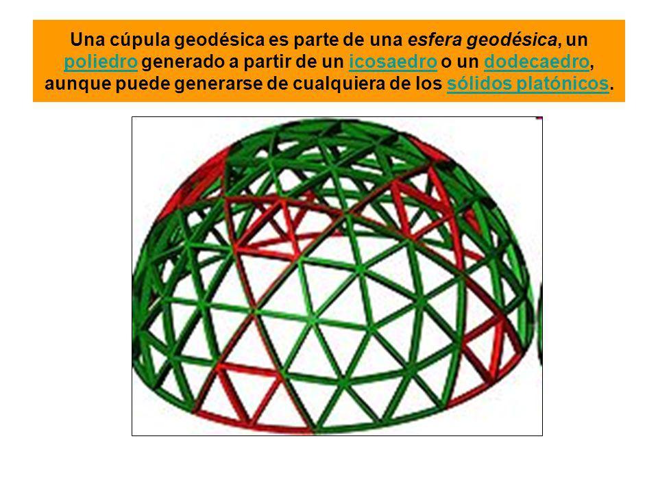 Una cúpula geodésica es parte de una esfera geodésica, un poliedro generado a partir de un icosaedro o un dodecaedro, aunque puede generarse de cualquiera de los sólidos platónicos.