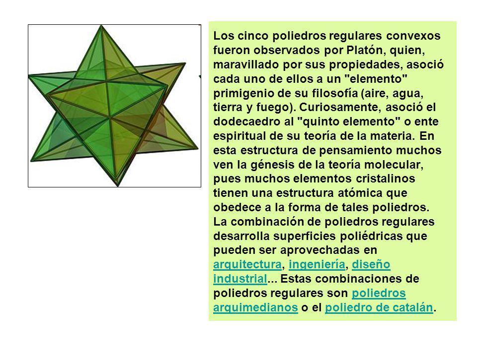 Los cinco poliedros regulares convexos fueron observados por Platón, quien, maravillado por sus propiedades, asoció cada uno de ellos a un elemento primigenio de su filosofía (aire, agua, tierra y fuego).