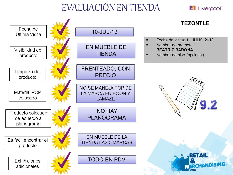 9.2 EVALUACIÓN EN TIENDA TEZONTLE 10-JUL-13 EN MUEBLE DE TIENDA