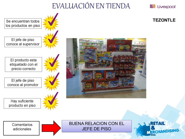 EVALUACIÓN EN TIENDA TEZONTLE BUENA RELACION CON EL JEFE DE PISO