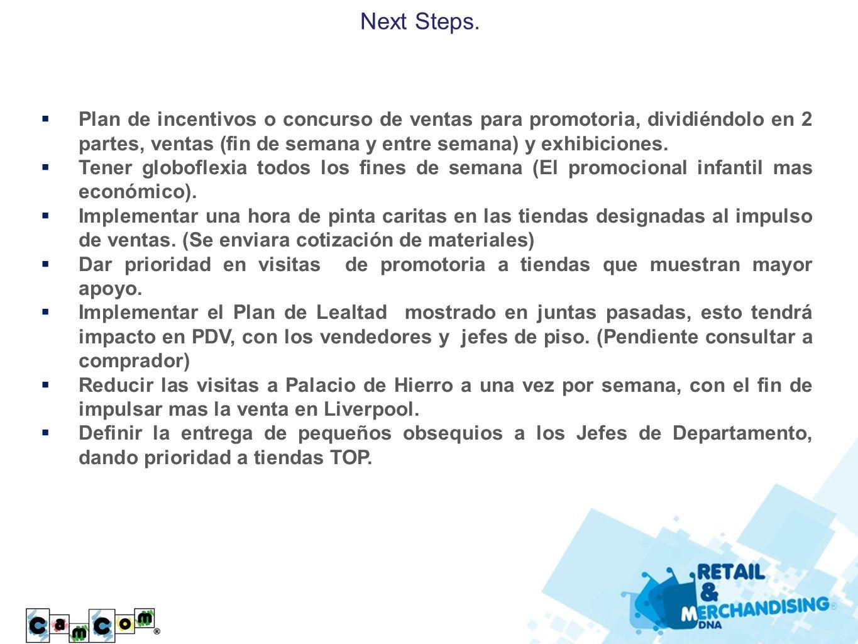 Next Steps. Plan de incentivos o concurso de ventas para promotoria, dividiéndolo en 2 partes, ventas (fin de semana y entre semana) y exhibiciones.