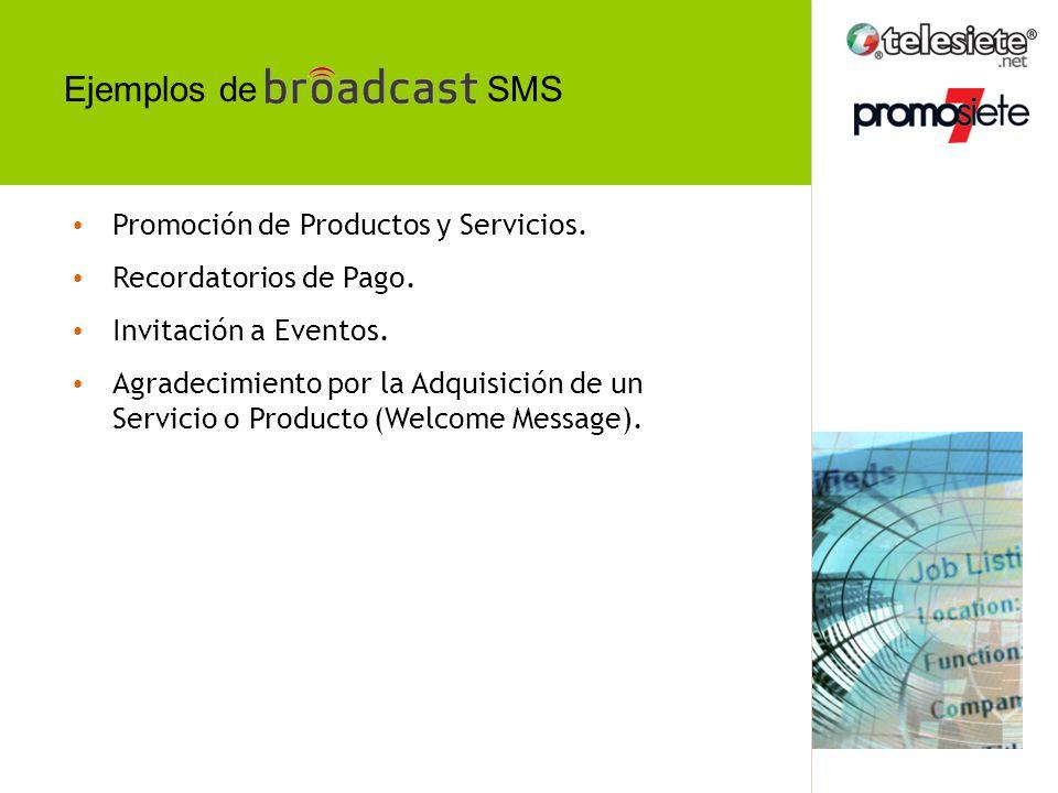 Ejemplos de SMS Promoción de Productos y Servicios.