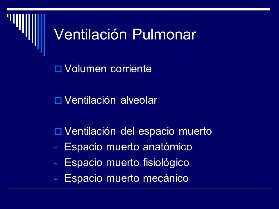 Ventilación Pulmonar Volumen corriente Ventilación alveolar
