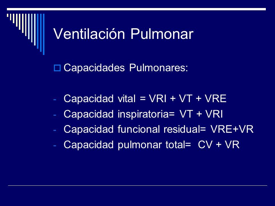 Ventilación Pulmonar Capacidades Pulmonares: