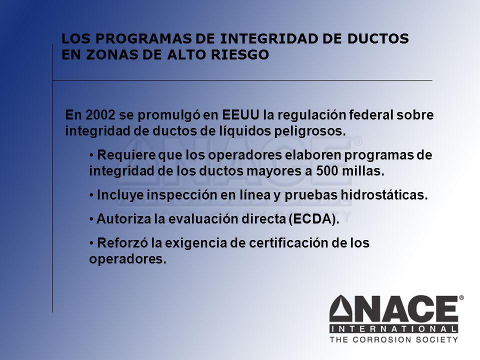 LOS PROGRAMAS DE INTEGRIDAD DE DUCTOS