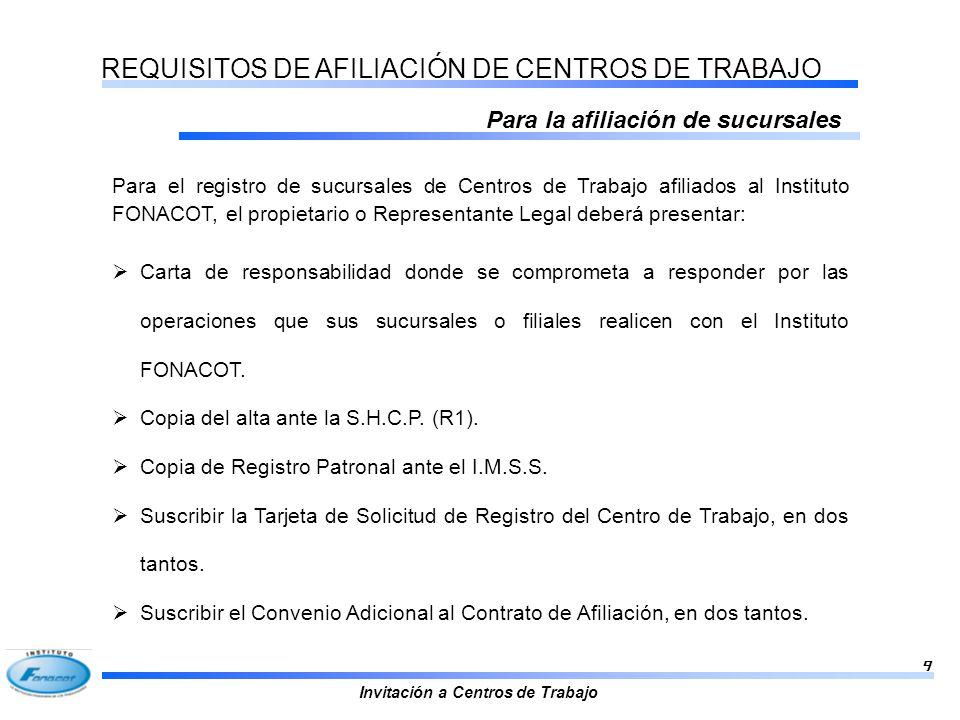 REQUISITOS DE AFILIACIÓN DE CENTROS DE TRABAJO