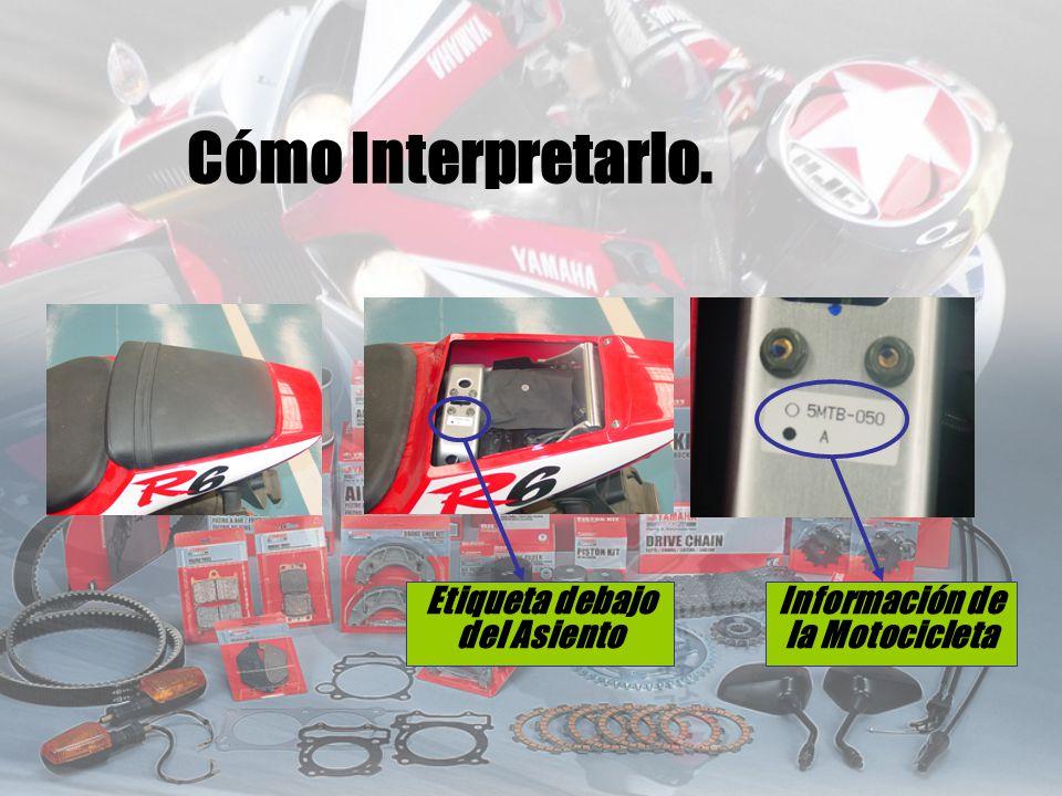 Etiqueta debajo del Asiento Información de la Motocicleta