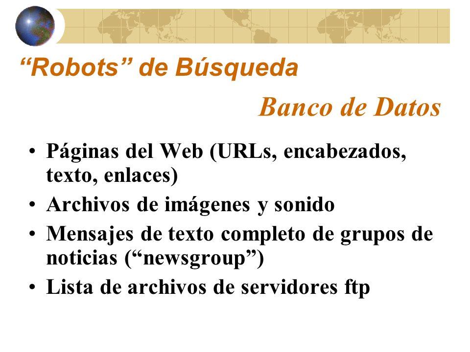 Banco de Datos Robots de Búsqueda