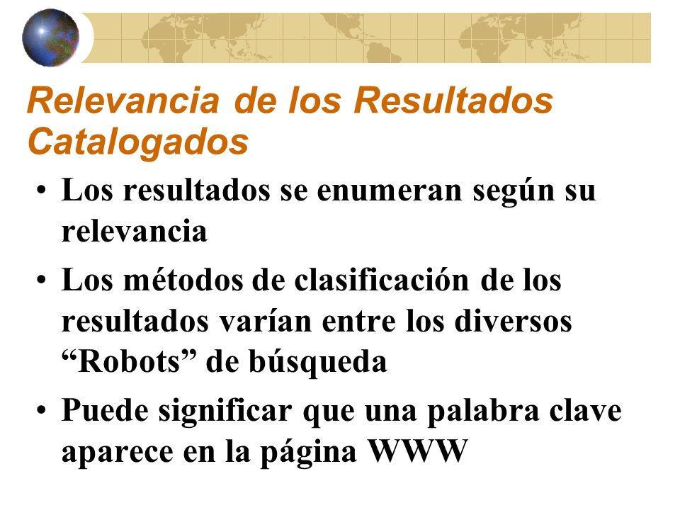 Relevancia de los Resultados Catalogados