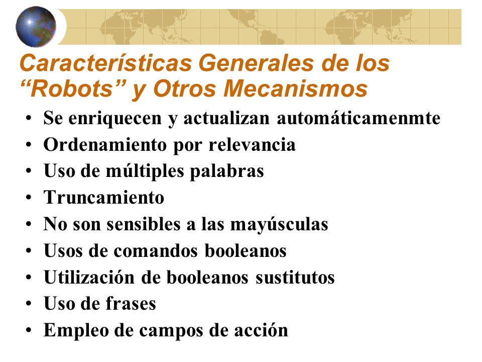 Características Generales de los Robots y Otros Mecanismos