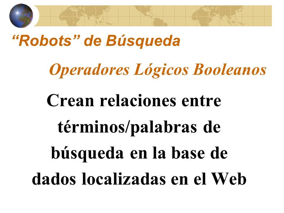 Robots de Búsqueda Operadores Lógicos Booleanos.