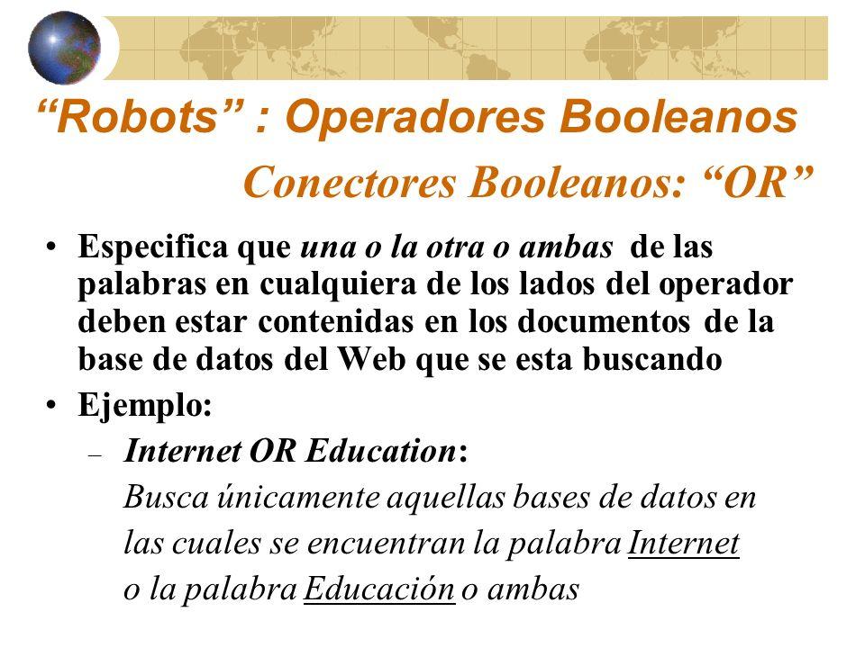 Robots : Operadores Booleanos