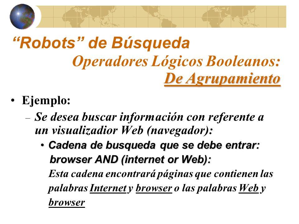 Robots de Búsqueda Operadores Lógicos Booleanos: De Agrupamiento