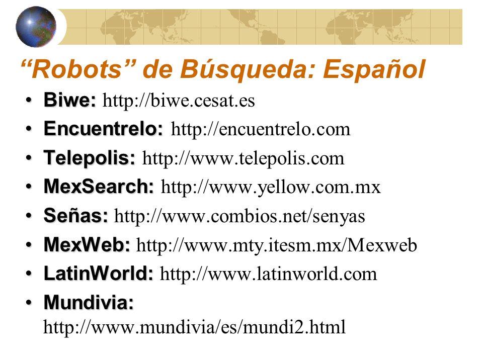 Robots de Búsqueda: Español