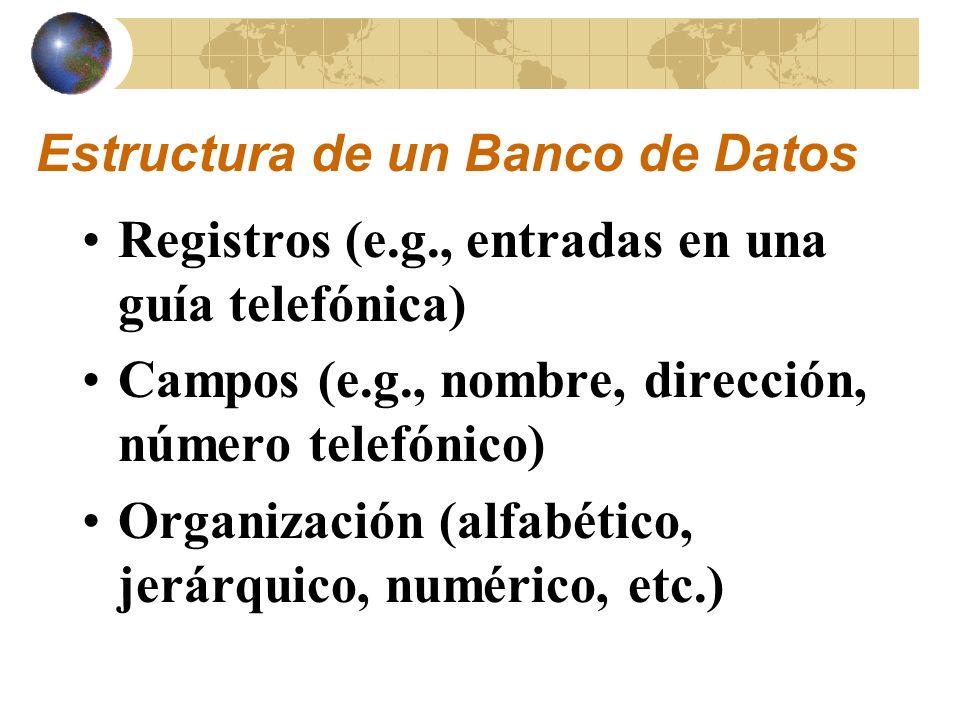 Estructura de un Banco de Datos